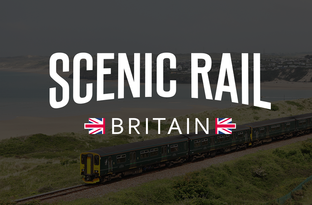 Scenic Rail Britain logo with St Ives Bay Line train in the background