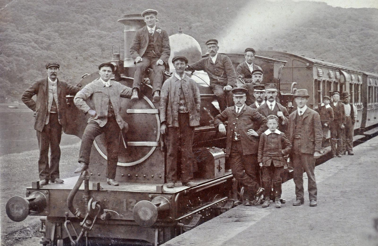 Historical photo of staff at Looe station - courtesy of The National Archives