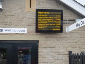 Next Train Information screen at Lostwithiel station