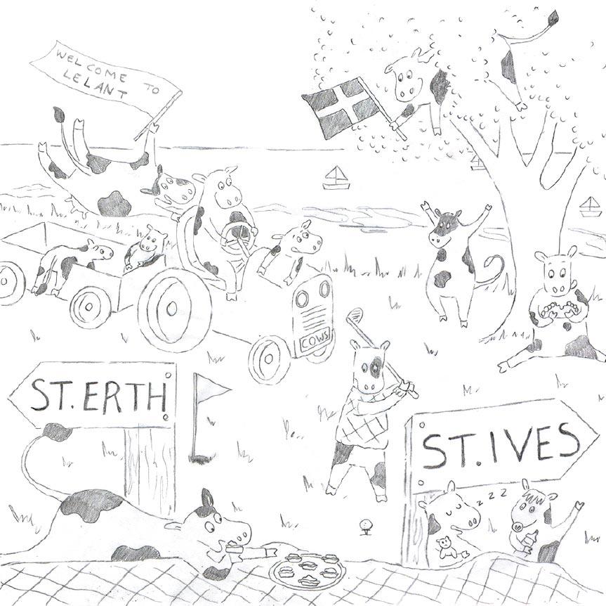 Emily Stanbury Lelant rail sign sketch