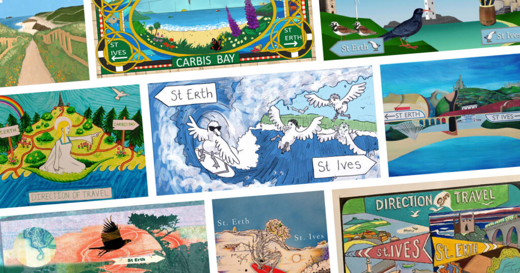 Collage of shortlisted entries in St Ives Bay Line art competition